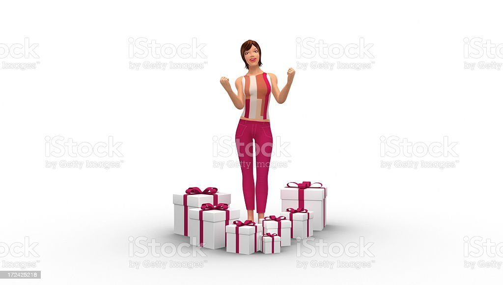 Happy Pretty Female Character Surrounded By Gifts royalty-free stock photo
