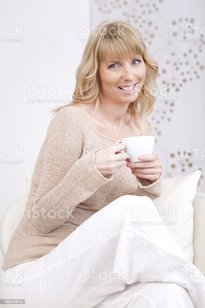 happy pretty women with a cup of coffee royalty-free stock photo