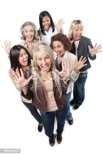 istock Happy professional women with hands in the air 185062607