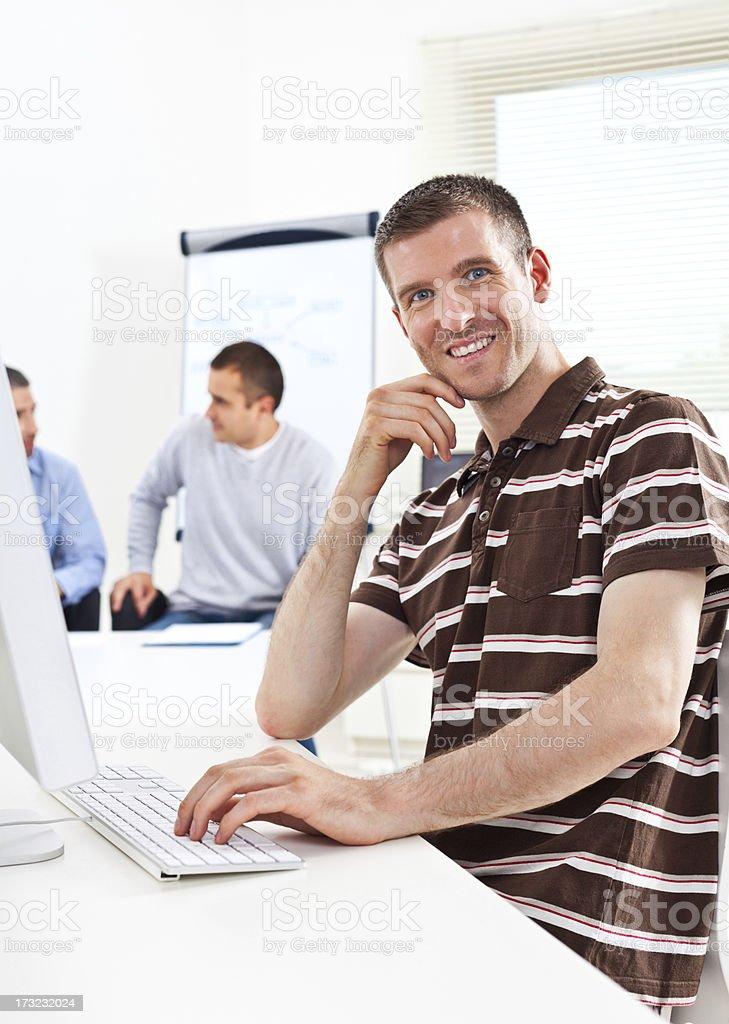 Happy programmer royalty-free stock photo