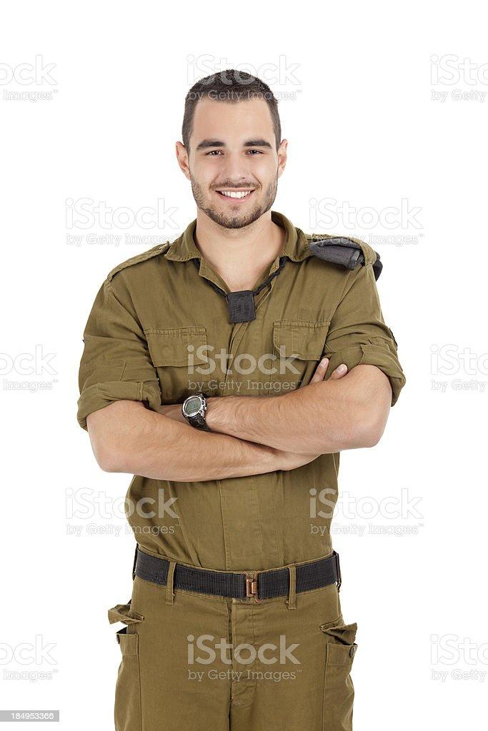 Happy proud soldier. stock photo