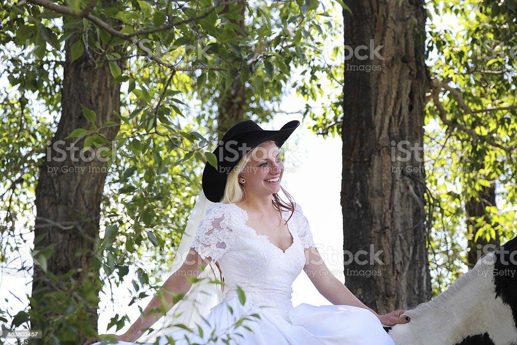 Radiant Bride Wedding Video Photography: Happy Radiant Cowboy Bride Rides Horse In Wedding Dress