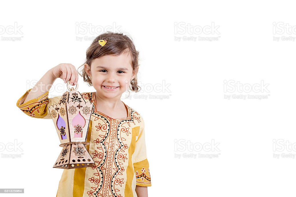 Happy Ramadan girl stock photo