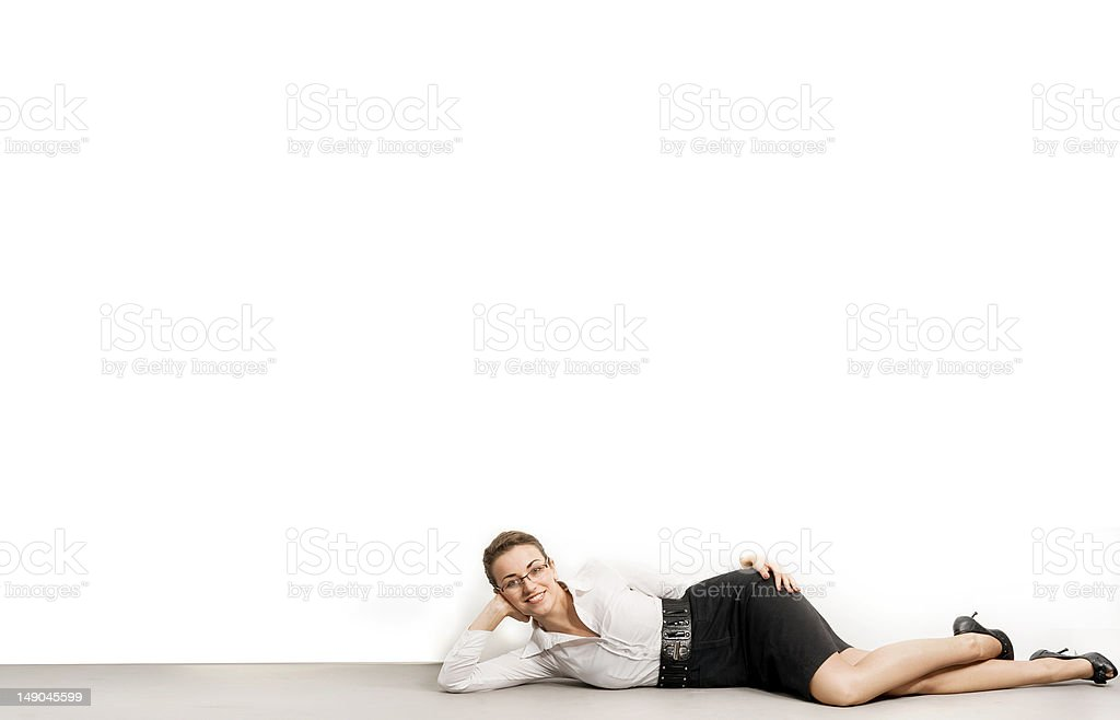 Happy relaxed businesswoman royalty-free stock photo