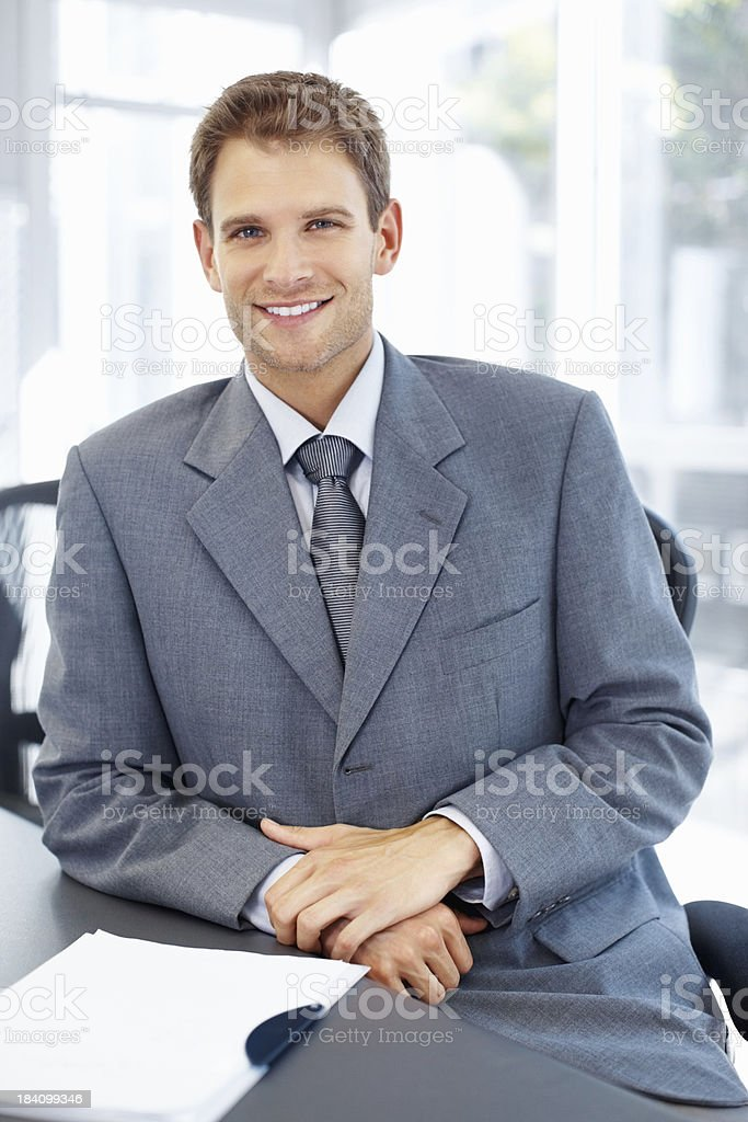 Happy relaxed middle aged business man royalty-free stock photo