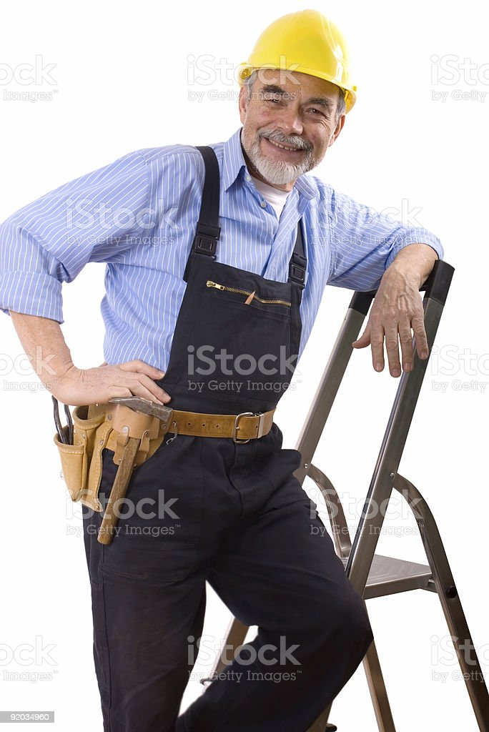 happy repairman royalty-free stock photo