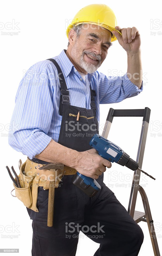 happy repairman royalty-free stock photo