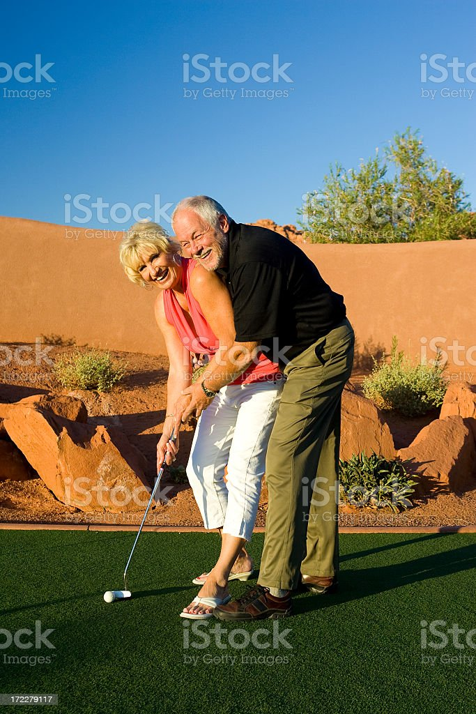 Happy Retired Couple Retired With Tablet Stock Image