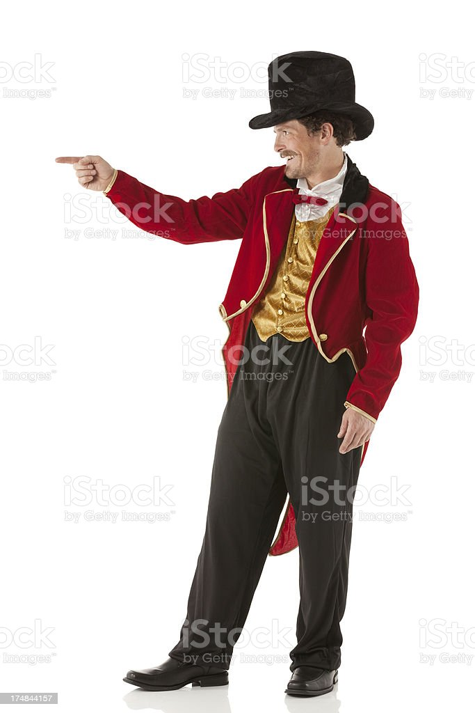 Happy ringmaster pointing stock photo