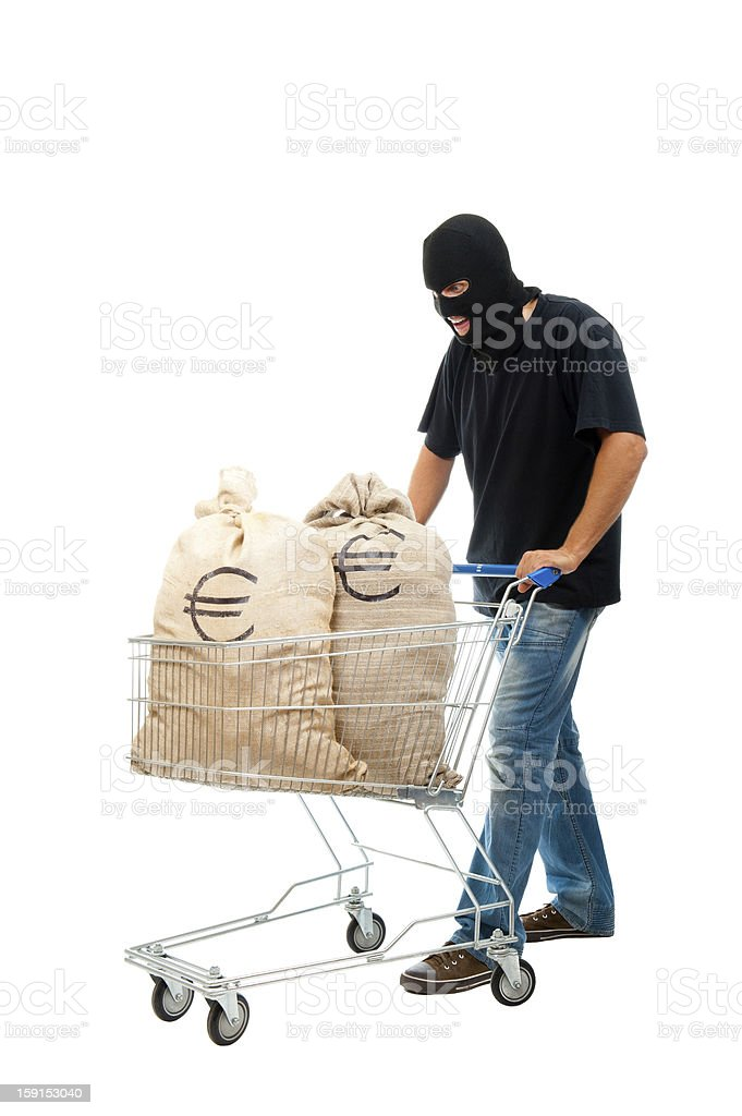 Happy robber with sack full of dollars royalty-free stock photo