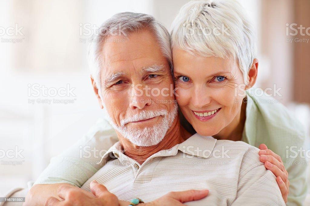 Happy romantic senior couple at home royalty-free stock photo