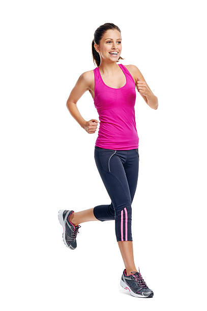 happy running girl stock photo