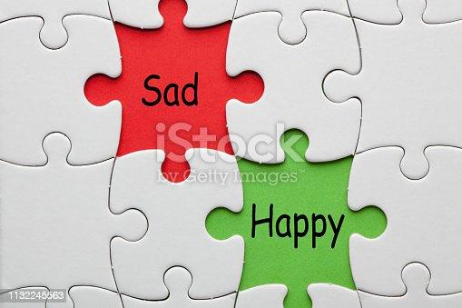 Happy Sad words on colorful pieces paper puzzle. Business concept