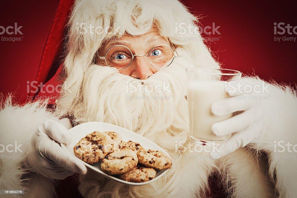 Happy Santa Claus and cookies milk royalty-free stock photo