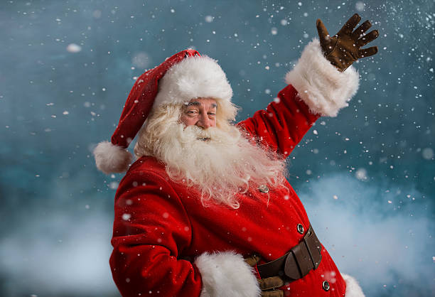 Happy Santa Claus laughing stock photo