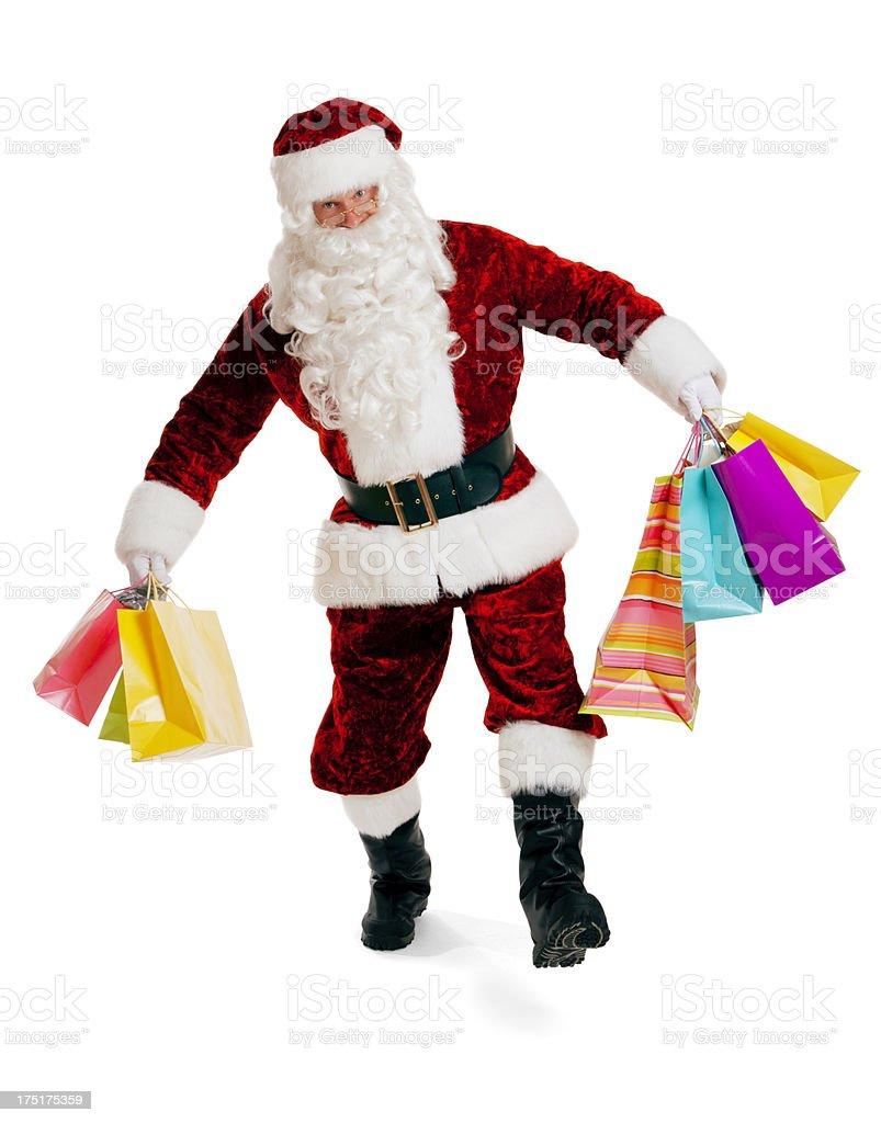 Happy Santa Claus Shopping for Christmas royalty-free stock photo