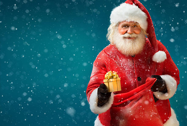 Happy Santa Claus with gift stock photo