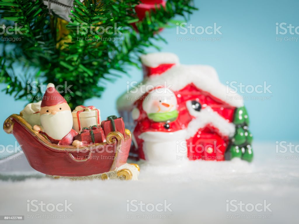 Happy Santa Claus With Gifts Box On The Snow Sled Going To House ...