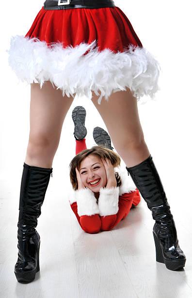 happy santa frau - elfenkostüm damen stock-fotos und bilder