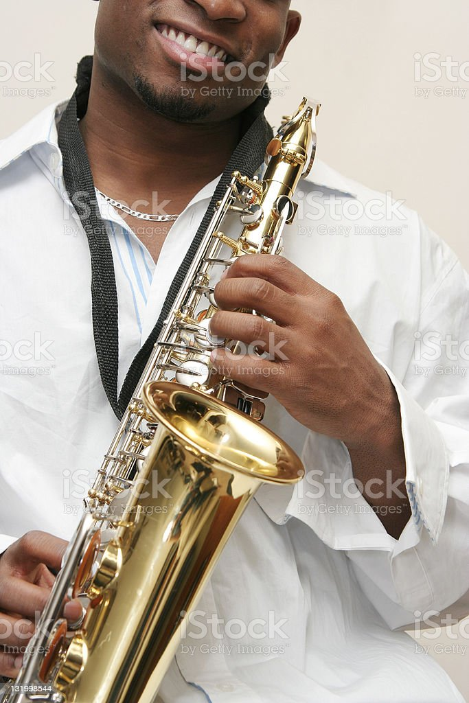 Happy sax player royalty-free stock photo