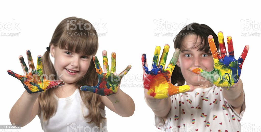 Happy School Children Painting With Hands royalty-free stock photo