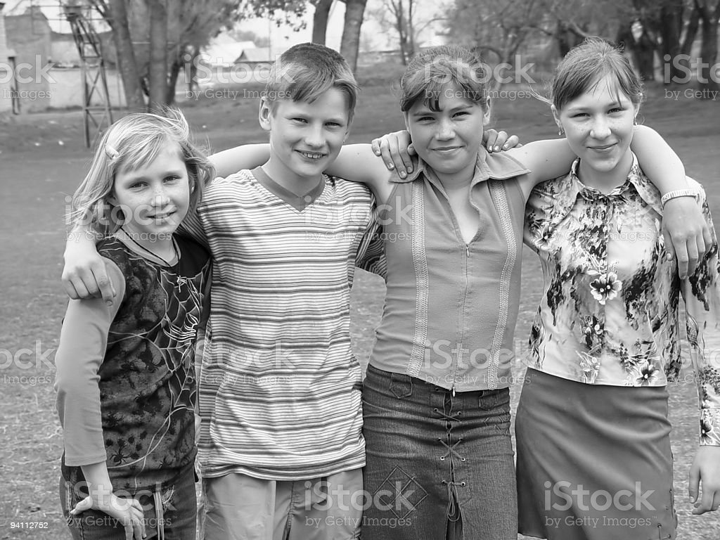 happy school teens stock photo