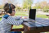 Happy  schoolboy using laptop on bench