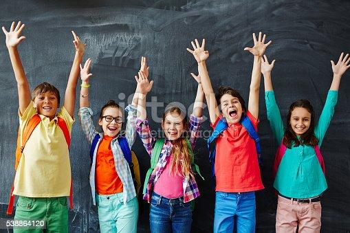 istock Happy schoolchildren 538864120
