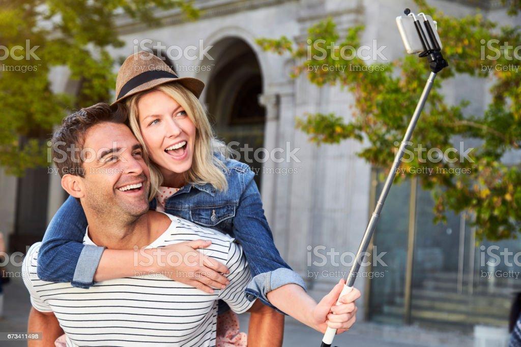 Happy selfie couple stock photo