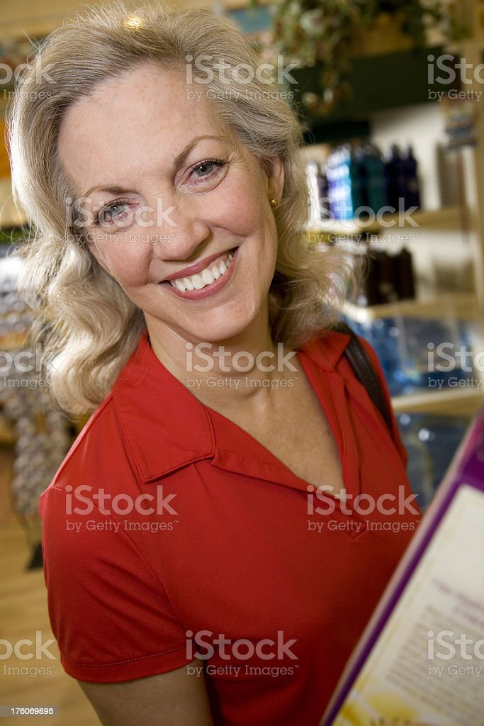 Happy Senior Adult at the Grocery Store royalty-free stock photo