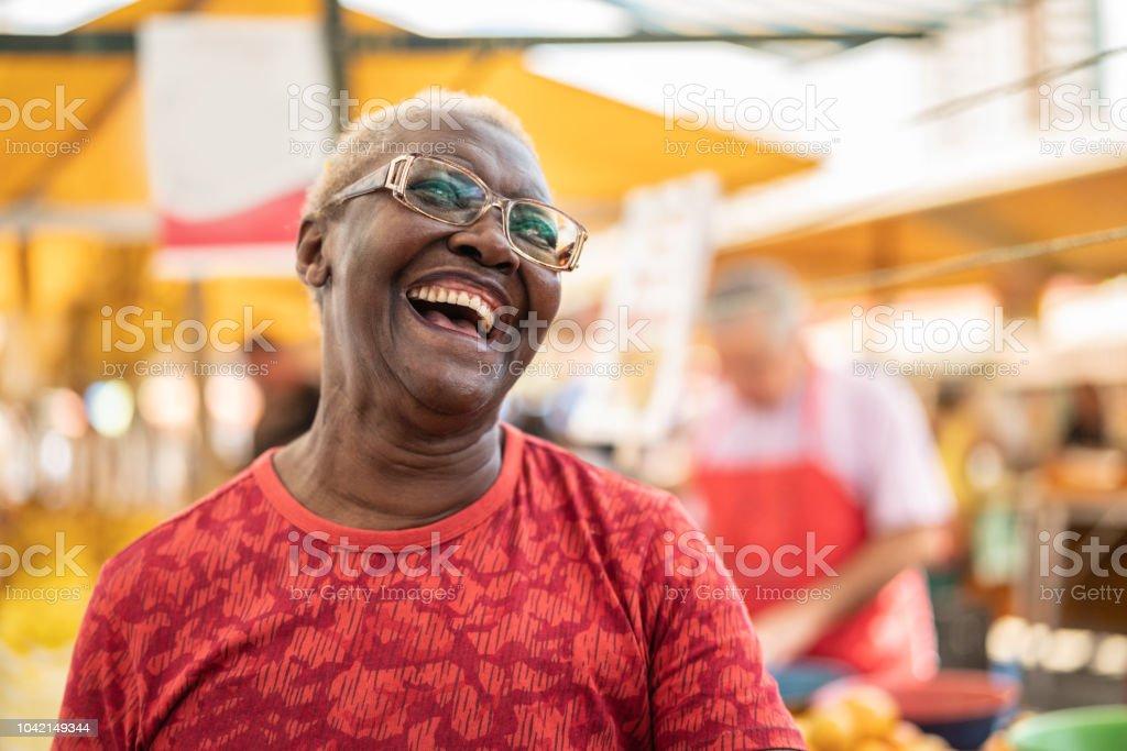 Happy Senior African Ethnicity Woman Portrait stock photo