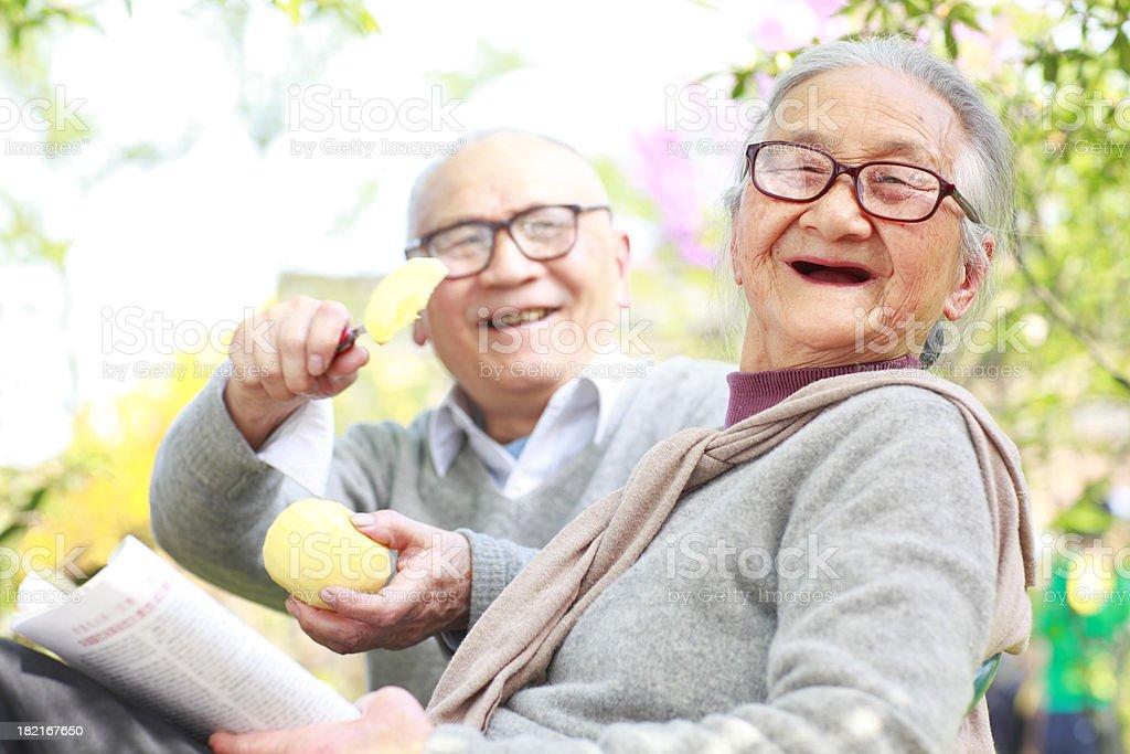happy senior asian couple in the garden stock photo