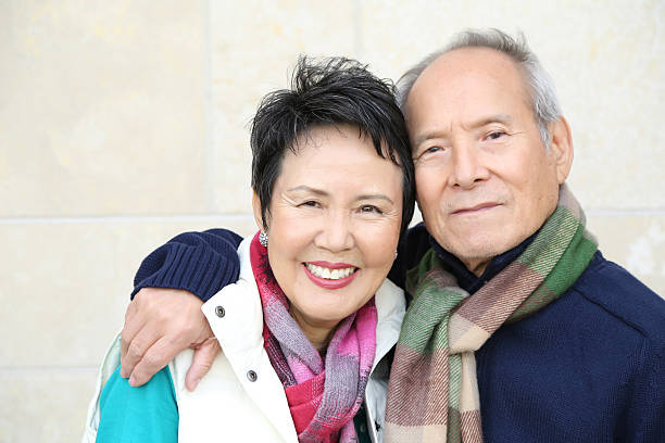 Happy Senior Asian Couple stock photo