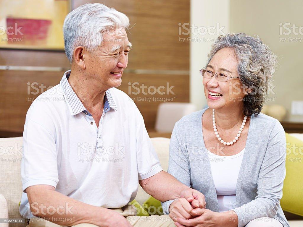 happy senior asian couple stock photo