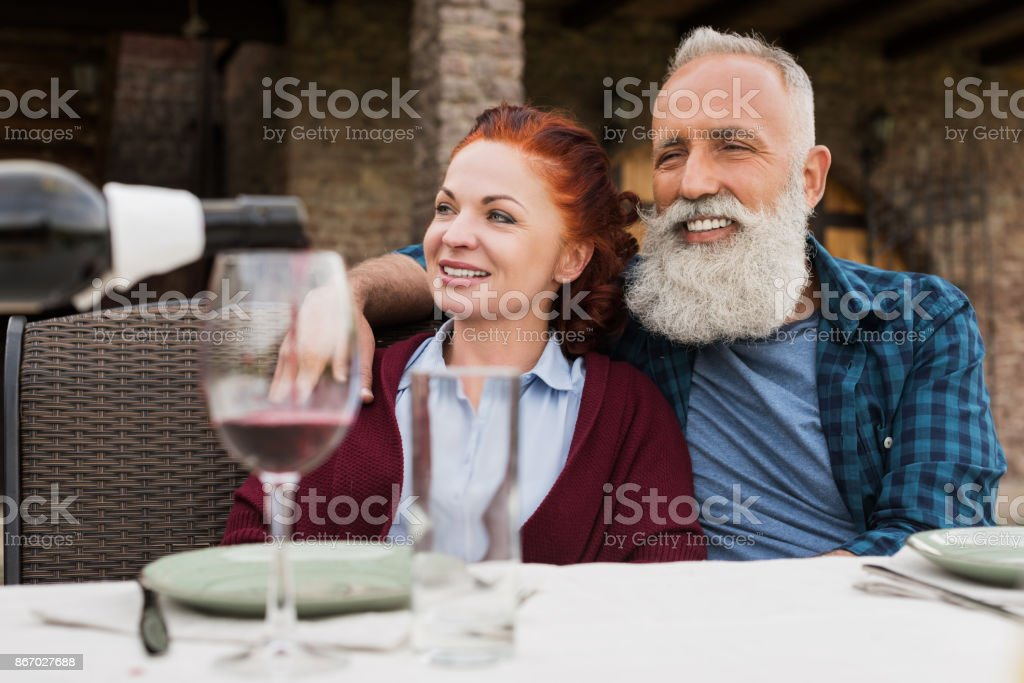 happy senior couple at countryside stock photo