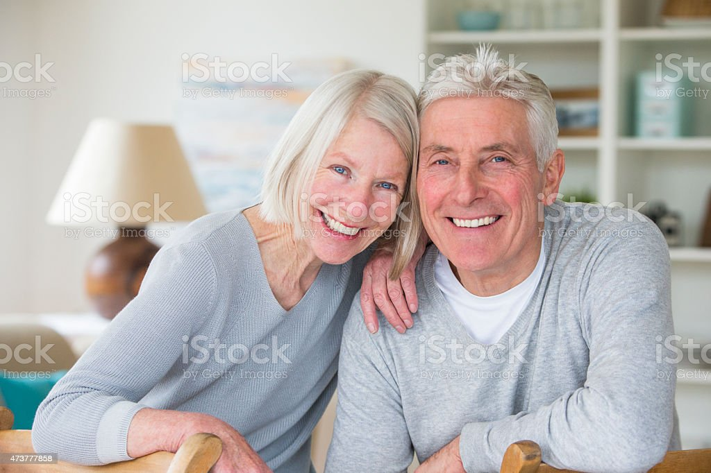 Happy Senior Couple at Home stock photo