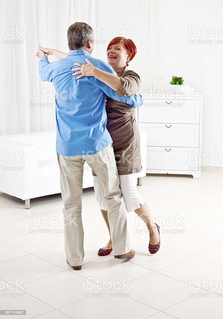 Happy Senior Couple Dancing royalty-free stock photo