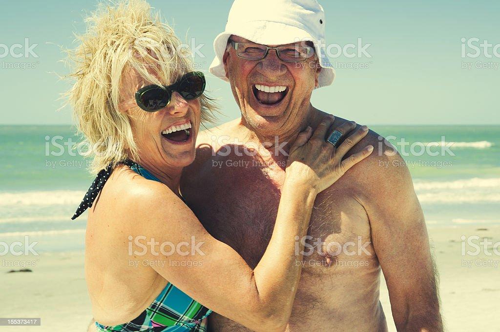 Happy senior couple on the beach. royalty-free stock photo