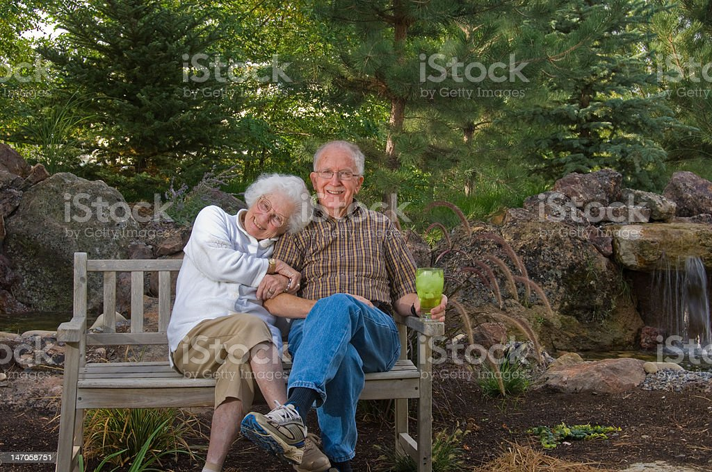 Happy senior couple outdoors royalty-free stock photo