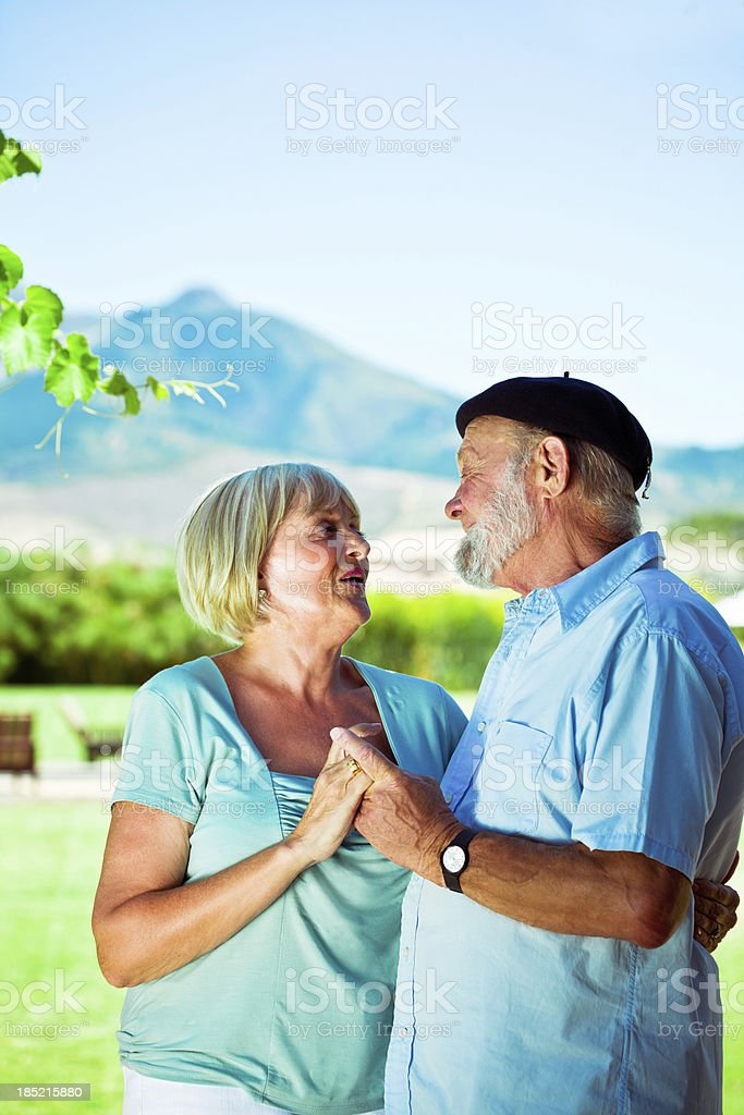 Happy senior couple Outdoor portrait of happy senior couple talking with beautiful mountains view in the background. 60-64 Years Stock Photo