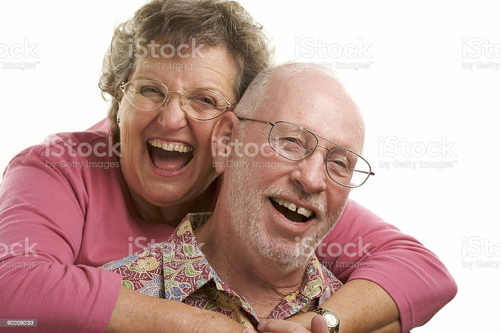 Happy Senior Couple Poses royalty-free stock photo