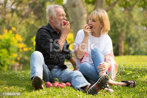 istock Happy senior couple relaxing in park eating apple together morning time. old people sitting on grass in the autumn park . Elderly resting .mature relationships. family 1138649760