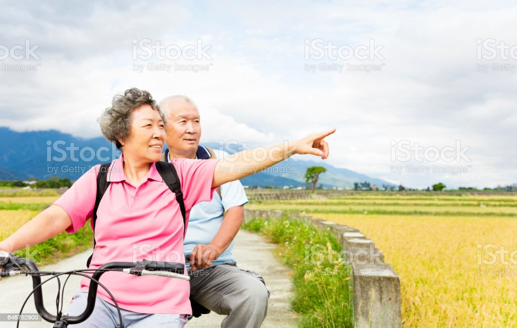 happy Senior  Couple Riding Bicycle on country road stock photo