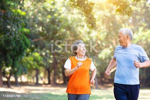 istock happy Senior couple running in the park 1132021785