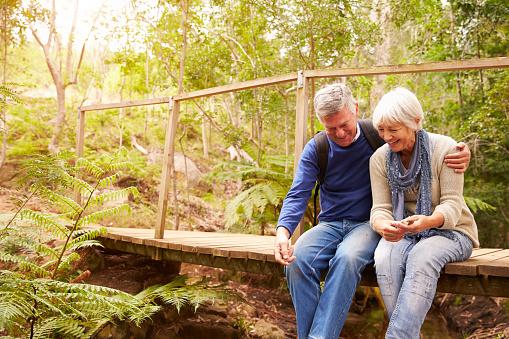 Happy senior couple sitting on bridge in forest, horizontal
