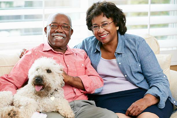 Happy Senior Couple Sitting On Sofa With Dog stock photo