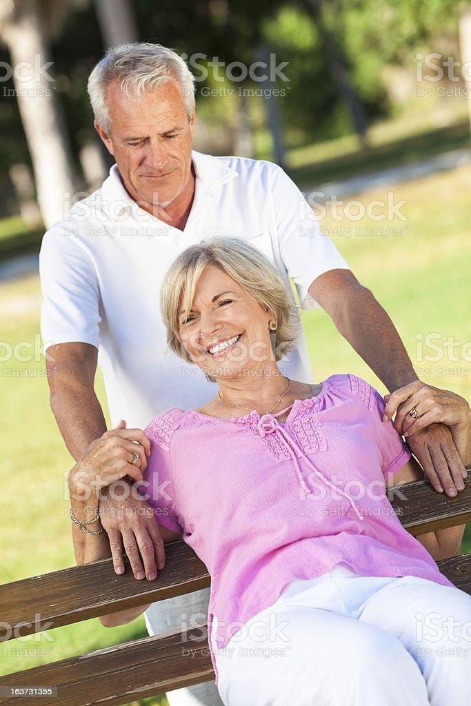 Happy Senior Couple Smiling Outside in Sunshine royalty-free stock photo