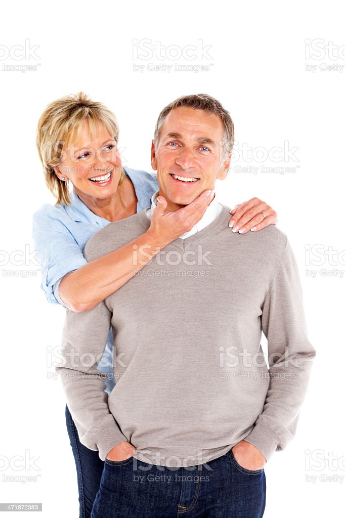 Happy senior couple standing together on white royalty-free stock photo