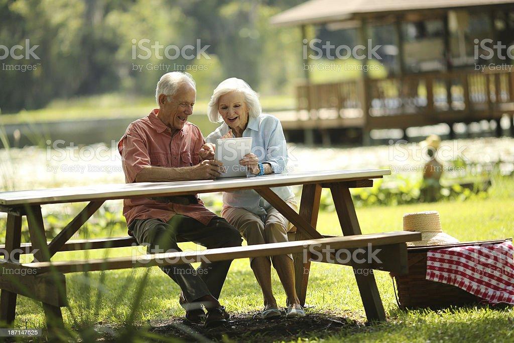 Happy Senior Couple Using Digital Tablet In Park royalty-free stock photo