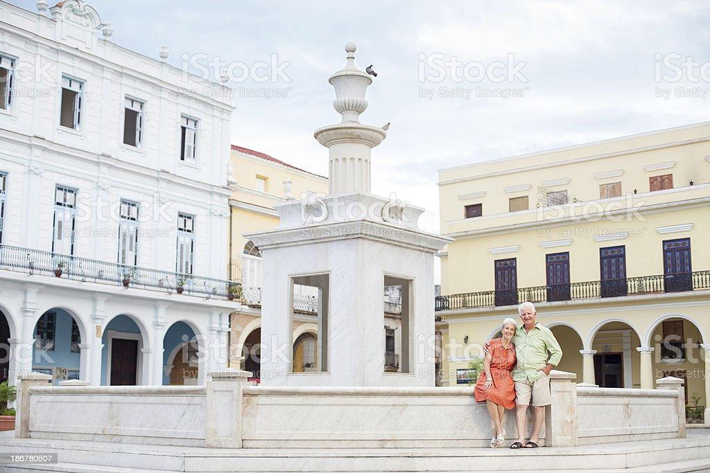 Happy senior couple visiting Cuba royalty-free stock photo